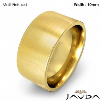 Comfort Flat Pipe Cut Ring Mens Wedding Band 10mm 14k Gold Yellow 12 2g 8