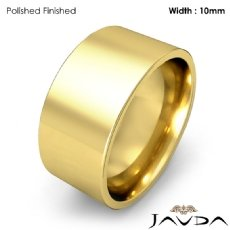 Comfort Flat Pipe Cut Ring Mens Wedding Band 10mm 18k Gold Yellow 11.8g 4