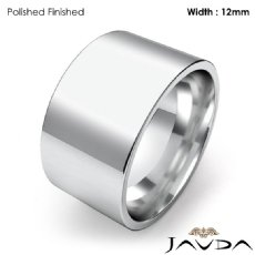 Mens Wedding Band Comfort Flat Pipe Cut Ring 12mm Platinum 950 19.3g 4
