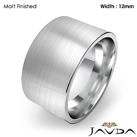 Mens Wedding Band Comfort Flat Pipe Cut Ring 12mm 14k White Gold 12g 4sz