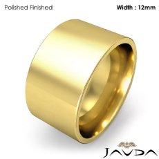 Mens Wedding Band Comfort Flat Pipe Cut Ring 12mm 18k Gold Yellow 14.1g 4