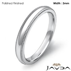 Solid Dome Milgrain Ring Plain Men Wedding Band 3mm Platinum 950 5.5g 4