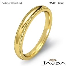 Solid Dome Milgrain Ring Plain Men Wedding Band 3mm 18k Gold Yellow 4.2g 4