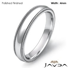4mm Dome Milgrain Solid Ring Platinum 950 Plain Men Wedding Band 6.8g 4