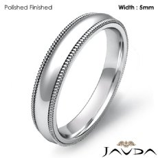 Solid Men Wedding Ring Dome Milgrain Plain Band 5mm Platinum 950 8.9g 5
