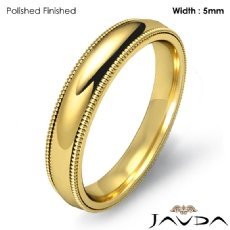 Solid Men Wedding Ring Dome Milgrain Plain Band 5mm 18k Gold Yellow 6.6g 5