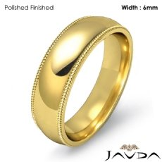 Men Wedding Comfort Fit Band Dome Milgrain Ring 6mm 18k Gold Yellow 7.8g 5
