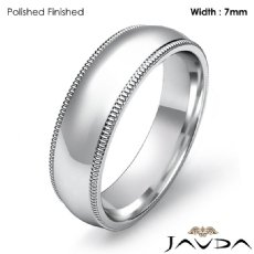 7mm Plain Men Wedding Band Dome Milgrain Solid Ring Platinum 950 12.2g 5