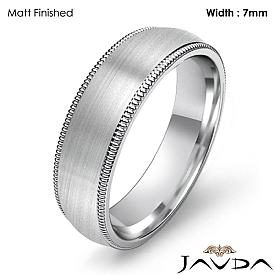 7mm Plain Men Wedding Band Dome Milgrain Solid Ring 14k White Gold 7.9g 4sz