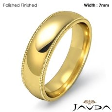 7mm Plain Men Wedding Band Dome Milgrain Solid Ring 18k Gold Yellow 9g 5