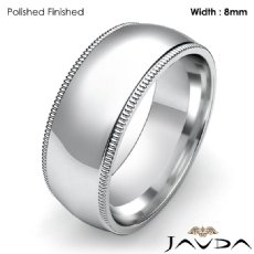 Plain Men Wedding Band Dome Milgrain Solid Ring 8mm 14k White Gold 9.1g 4sz