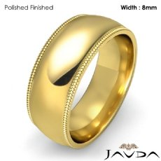 Plain Men Wedding Band Dome Milgrain Solid Ring 8mm 18k Gold Yellow 10.3g 5