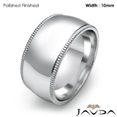 Dome Milgrain Comfort Ring Mens Wedding Band 10mm 14k White Gold 11.4g 4sz