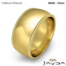 Dome Milgrain Comfort Ring Mens Wedding Band 10mm 18k Gold Yellow 12.9g 5