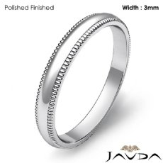 Mens Wedding 3mm Band Dome Milgrain Solid Ring 14k White Gold 2.8g 4sz
