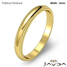 Mens Wedding 3mm Band Dome Milgrain Solid Ring 18k Gold Yellow 3.4g 5