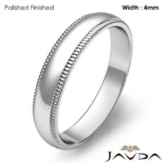 Plain Men Wedding Band Dome Milgrain Edge Ring 4mm 14k White Gold 3.7g 4sz