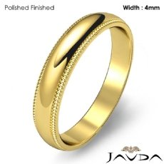 Plain Men Wedding Band Dome Milgrain Edge Ring 4mm 18k Gold Yellow 4.3g 5