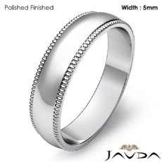 Men Wedding Band 14k White Gold Dome Milgrain Edge Solid Ring 5mm 4.6g 4sz