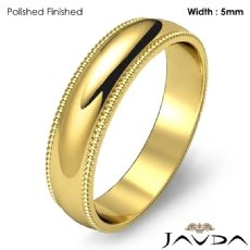 Men Wedding Band 18k Gold Yellow Dome Milgrain Edge Solid Ring 5mm 5.3g 5