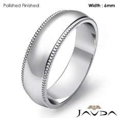Solid Men Wedding Band Dome Milgrain Edge Ring 6mm 14k White Gold 6.2g 4sz