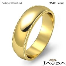 Solid Men Wedding Band Dome Milgrain Edge Ring 6mm 18k Gold Yellow 7g 5