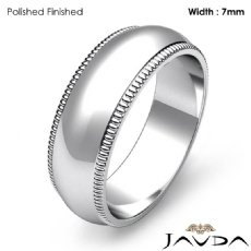 Dome Milgrain Edge Ring Men Wedding Solid Band 7mm Platinum 950 11.7g 5