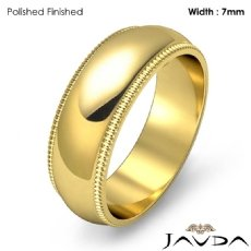 Dome Milgrain Edge Ring Men Wedding Solid Band 7mm 18k Gold Yellow 8.6g 5