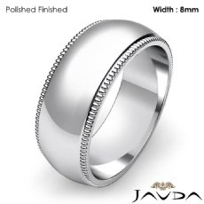 8mm Men Wedding Band Dome Milgrain Edge Solid Ring Platinum 950 14g 5