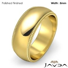8mm Men Wedding Band Dome Milgrain Edge Solid Ring 18k Gold Yellow 10.3g 5