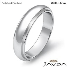 Mens Wedding Solid Band Dome Step Down Ring 5mm 14k White Gold 5.3g 4sz