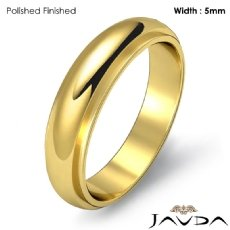 Mens Wedding Solid Band Dome Step Down Ring 5mm 18k Gold Yellow 6g 5