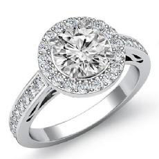 Filigree Basket Halo Pave Round diamond engagement Ring in 14k Gold White