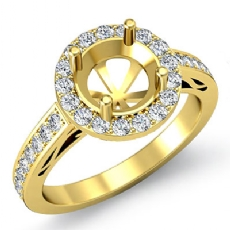 Anniversary Diamond Engagement Round Ring 18k Gold Yellow Halo Pave Setting Semi Mount (0.8Ct. tw.)