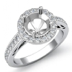 0.8Ct Anniversary Diamond Engagement Round Ring 14k White Gold Halo Pave Setting Semi Mount - javda.com