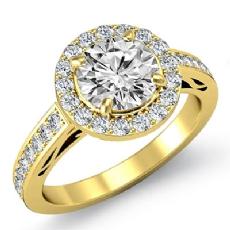 Filigree Halo Sidestone Round diamond engagement Ring in 18k Gold Yellow