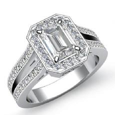 Filigree Split Shank Halo Pave Emerald diamond engagement Ring in 14k Gold White
