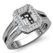 0.92Ct Diamond Engagement Halo Setting Ring Emerald Semi Mount 14k White Gold - javda.com