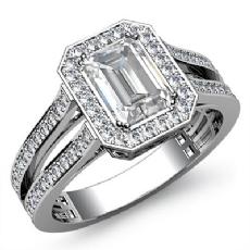 Halo Split Shank Side Stone Emerald diamond engagement Ring in 14k Gold White