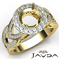 Round Semi Mount Diamond Engagement Ring Halo Pave Set 14k Gold Yellow Band  (1.25Ct. tw.)