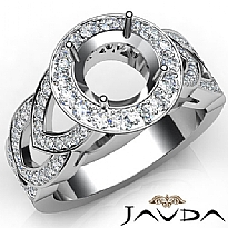 Round Semi Mount Diamond Engagement Ring Halo Pave Set Platinum 950 Band  (1.25Ct. tw.)