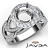 Round Semi Mount Diamond Engagement Ring Halo Pave Set 14K W Gold Band 1.25Ct