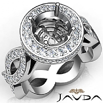 Round Cut Diamond Engagement Ring Pave Setting Platinum 950 Wedding Band  (1.3Ct. tw.)