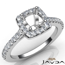 Diamond Engagement Round Semi Mount Shared Prong Setting Ring 14K W Gold 0.50Ct