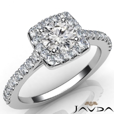 Shared Prong Halo Pave Round diamond engagement Ring in 14k Gold White