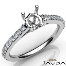 Double Prong Setting Diamond Engagement Round Semi Mount Ring 14K W Gold 0.30Ct