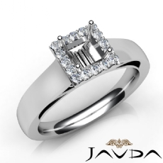 Princess Diamond Engagement Halo Pave Setting Semi Mount Ring 14K W Gold 0.20Ct
