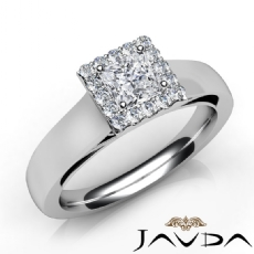 Halo Filigree Side Stone Princess diamond engagement Ring in 14k Gold White