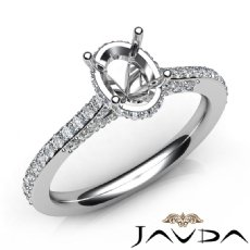 Diamond Engagement Pave Setting 14K White Gold Oval Cut Semi Mount Ring 0.65Ct