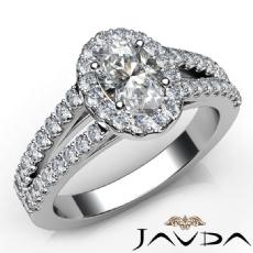 Split-Shank Halo Sidestone Oval diamond engagement Ring in 14k Gold White